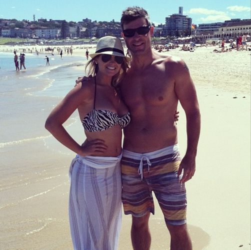 Jeff Schroeder and Jordan Lloyd on the beach in Australia