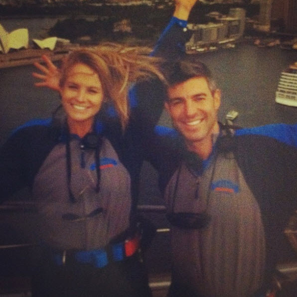 Jeff Schroeder and Jordan Lloyd on top of the Sydney Harbour Bridge