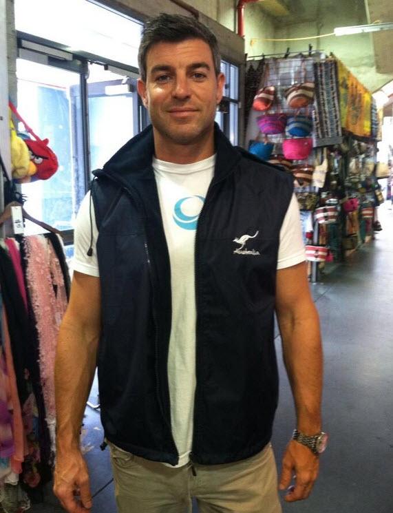 Jeff Schroeder enjoys his new Aussie jacket