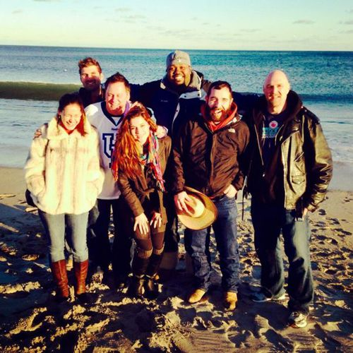 Big Brother Houseguests enjoy a cold day at the beach